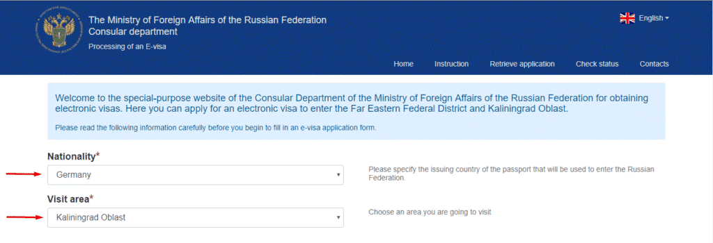 E-visa pour la Russie - application online